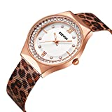 Women' s Quartz Analog Mesh Wrist Watch with Crystal White Dial, Luxury Dress Watches for Women Ladies