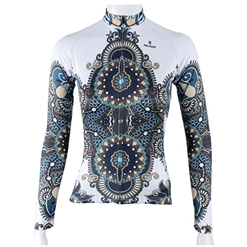 Ladies Racing Jacket - Paladin Cycling Jersey Long Sleeve Women Armor Pattern Bike Shirts (White, XX-Large)