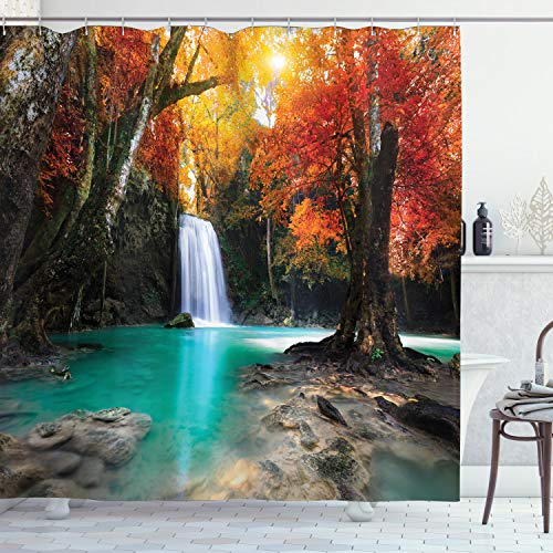 Ambesonne Waterfall Decor Collection, Deep Forest Waterfall Runoff Autumn Forest Image Pattern, Polyester Fabric Bathroom Shower Curtain Set with Hooks, Paprika Turquoise Ivory