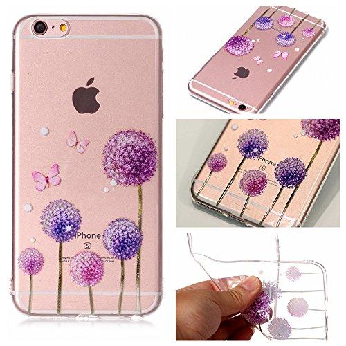 iPhone 6 / 6S Plus Hülle , Leiai Modisch Löwenzahn TPU Transparent Clear Weich Tasche Schutzhülle Silikon Handyhülle Stoßdämpfende Schale Fall Case Shell für Apple iPhone 6 / 6S Plus
