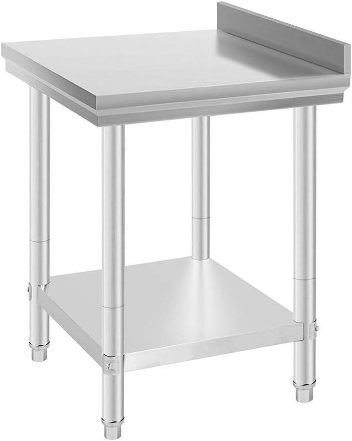 VEVOR 91x61cm Tavolo da Lavoro per Cucina Professionale Acciaio Inox Cucina Catering Tavolo da Lavoro per Cucina in Acciaio Inox con Le Ruote