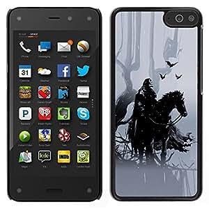 LECELL--Funda protectora / Cubierta / Piel For Amazon Fire Phone -- Caballero Negro Hípica crowm bosque de cuento de hadas --