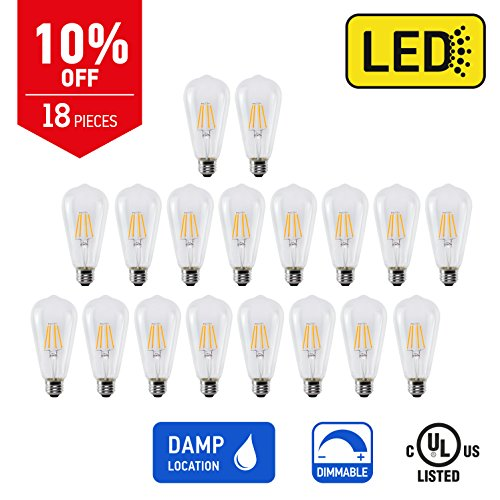 IN HOME LED FILAMENT BULB ST64, 6W (75W Equivalent), 600lm, Dimmable, 2200K (Warm white), Medium Base E26, CR80+, (18 Pack), UL listed