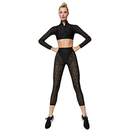 fbc91863bfb330 Ksruee Women's Yoga Wear Set,High Leopard Print Lace Waist Pants+Tops,for  Gym,Fitness,Running and Yoga etc (Choose You Colors and Sizes): Amazon.ca:  Home & ...