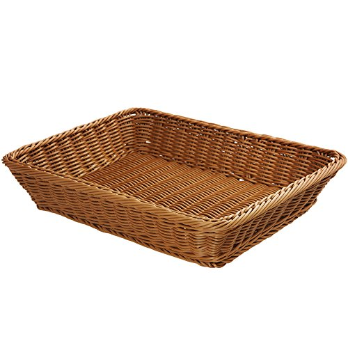 YOLOGOSUN Wicker Bread Basket-Woven Tabletop Food Fruit Vegetables Serving Basket, Restaurant Serving,Brown by YOLOGOSUN