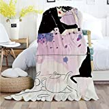 "Ylljy00 Fashion House Decor,Throw Blankets,Flannel Plush Velvety Super Soft Cozy Warm with/Girl with Sunglasses Lying on Couch Cat Elegance in Home Theme with Stains/Printed Pattern(70""x 90""),Black"
