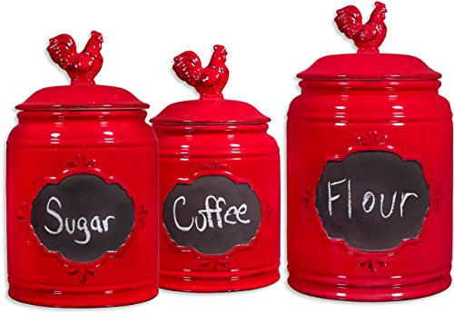 Set of 3 Red Ceramic Round Chalkboard Rooster Canister Jars with Tight Lids for Kitchen or Bathroom, Food Storage Containers, White Chalk Included (Red Rooster Ceramic)