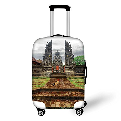 Travel Luggage Cover Suitcase Protector,Balinese Decor,Traditional Balinese Architecture Gate of Temple Tourist Attractions Asian Monument,Brown Green,for Travel