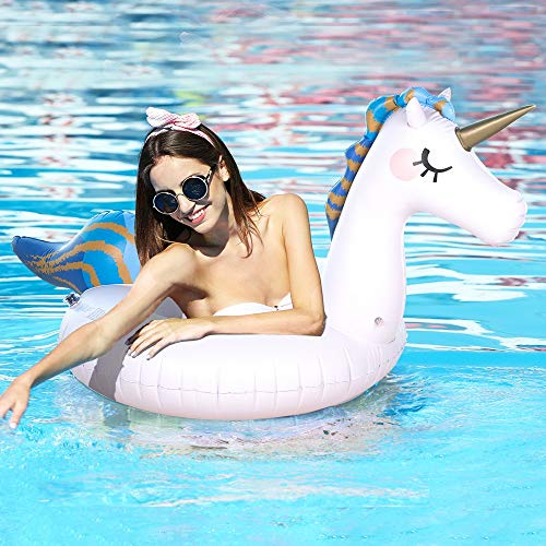 Sable Inflatable Unicorn Pool Float for Swimming Fun, Support 220 lbs, Adults & Kids