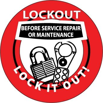 NMC HH74, Hard Hat Emblem''Lockout Before .'' (12 Packs of 25 pcs) by National Marker