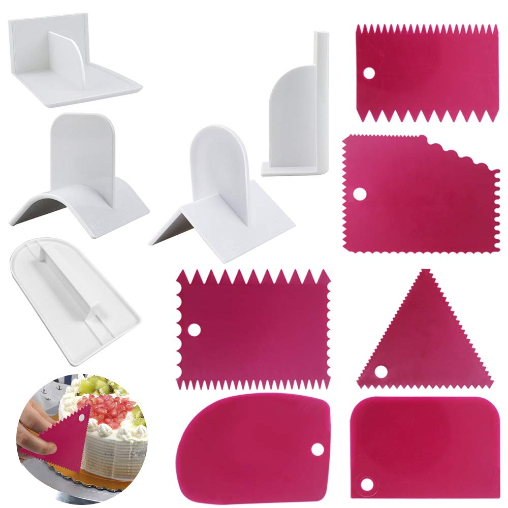 SourceTon Cake Scraper Smoother and Fondant Kits, Fabulous 6 Pcs Cake Decorative Scrapers Polisher and 5 Pcs of Fondant Smoother Tools