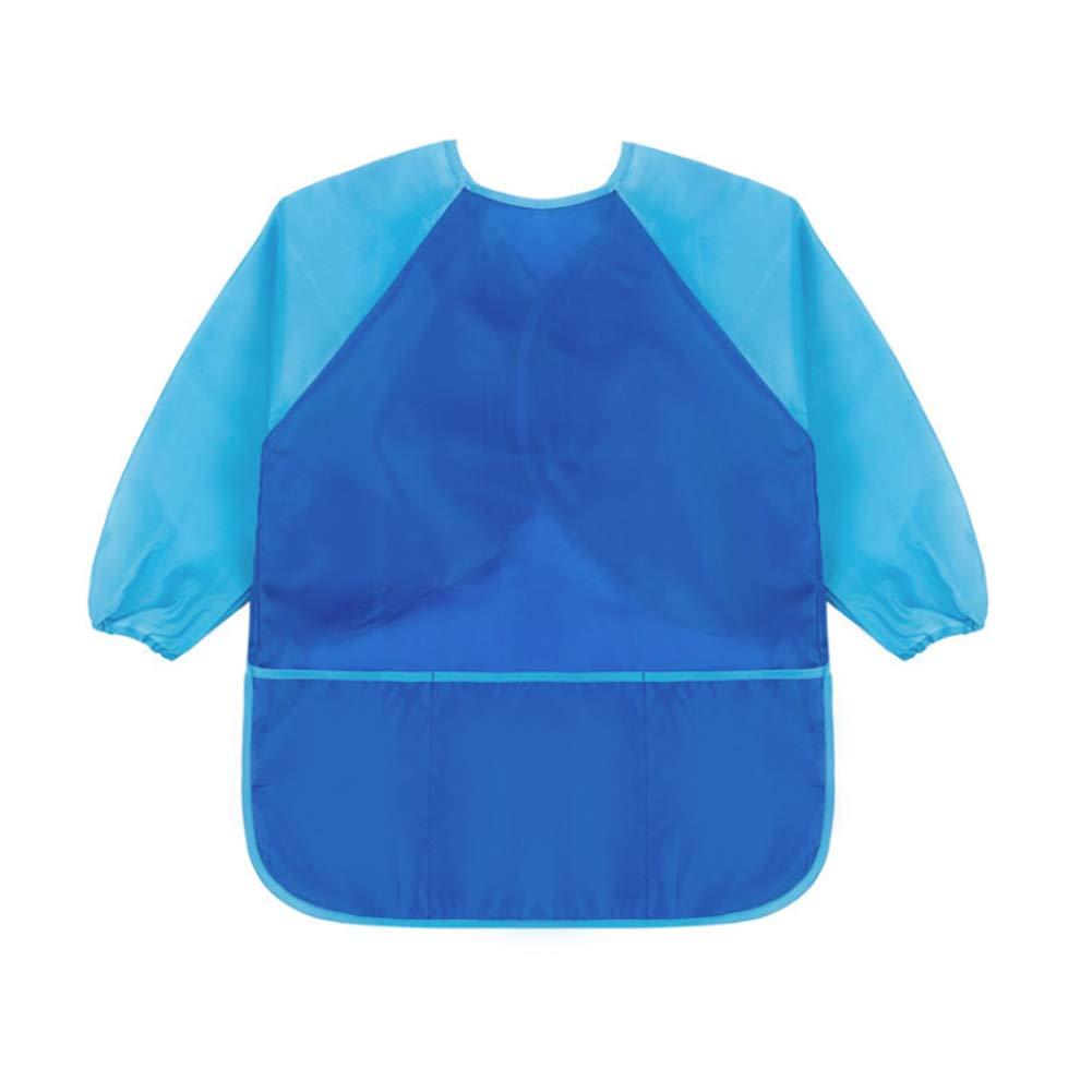 Blau 1,M Sanmum Malsch/ürze Kinder 1-12 Jahre Malkittel//Bastelsch/ürze//Langarm Kittel//Wasserdichter Sch/ürze f/ür Jungen und M/ädchen