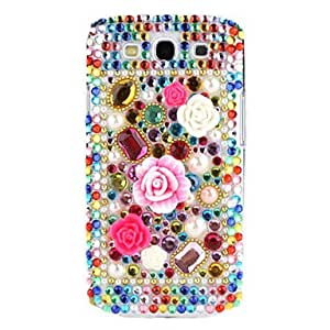 GJY Flowers Style Rhinestones Hard Case for Samsung Galaxy S3 I9300