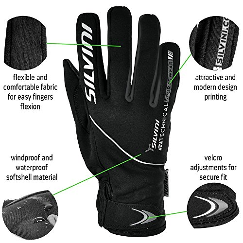 SILVINI Novelty Premium Winter Gloves for Cycling & Mountain Bike ORTLES Mens Cold Weather Softshell Gloves for Sports & Outdoors W/Anti-Slip Grip, Gel Padding – Windproof & Water Resistant