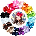 16pcs 6 inches Baby Girls Large Big Grosgrain Ribbon Hair Bows With Glitter Sparkly Rhinestones Alligator Hair Clips