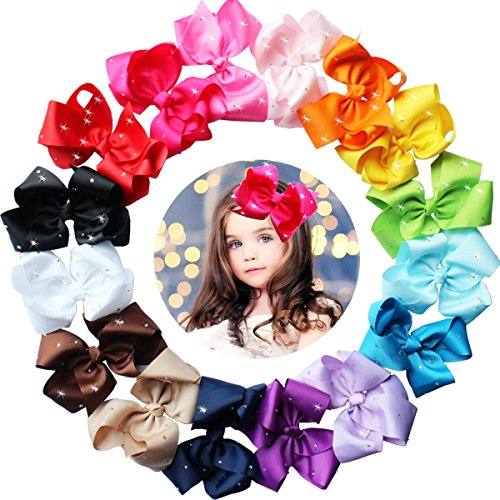 "16pcs 6"" Big Hair Bows Glitter Rhinestones Large Boutique Hair Bows For Girls Alligator Hair Clips Baby Girls Hair Accessories"