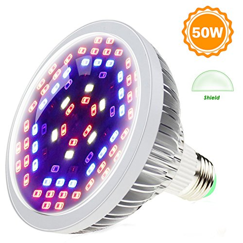 SHEKAR 50W Full Spectrum LED Plant Grow Light Bulb with Shield   Plant Lamp Bulb for Home, Indoor Garden Greenhouse and Hydroponic Aquatic (E27, 78LEDs)