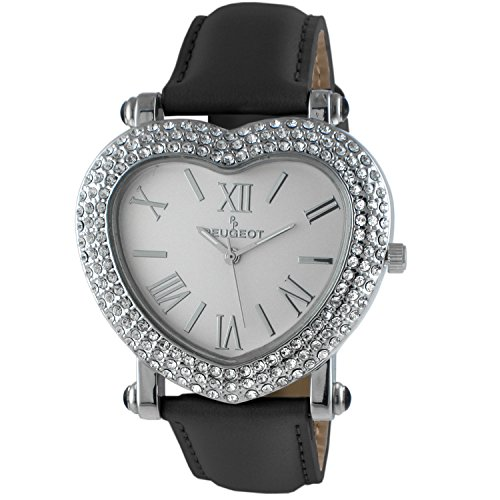 Peugeot Womens Heart Shaped Wrist Watch with Crystal Studded Case & Black Leather ()