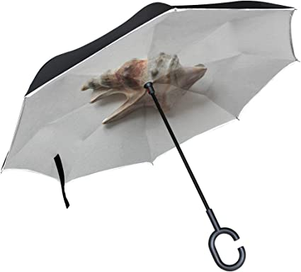 Colorful Sea Shells Rainproof and Windproof UV Protection Double Layer Folding Inverted Umbrella with C-Shaped Handle Reverse Umbrellas For Car Rain Outdoor
