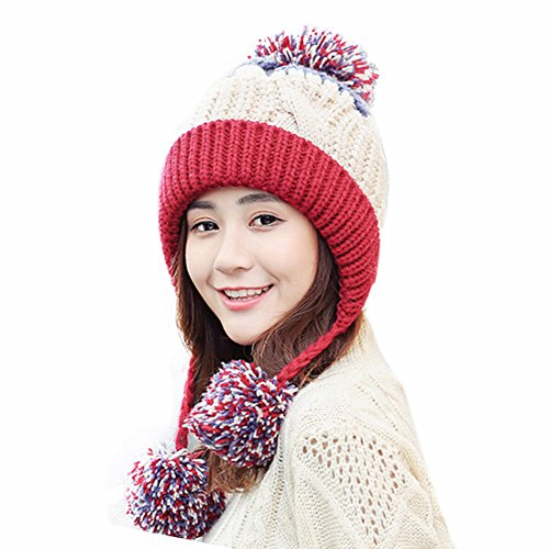 HUAMULAN Women Fleece Lined Winter Beanie Hat Ski Cap Ear Flaps Peruvian Dual Layered Pompoms