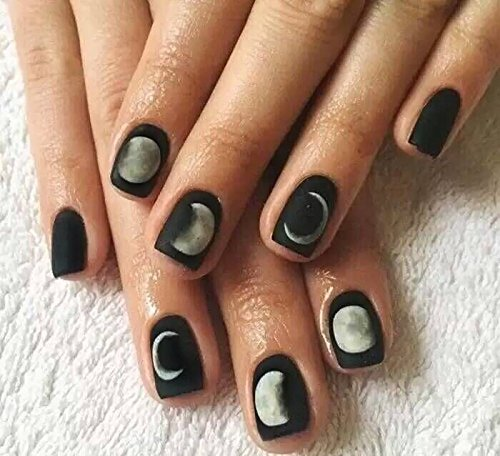 24 Pcs Simple Moon Eclipse Black Square Short Full Cover False Nail with Glue Stickers and Mini File (Cute Halloween Nail Designs For Short Nails)