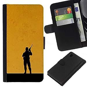 All Phone Most Case / Oferta Especial Cáscara Funda de cuero Monedero Cubierta de proteccion Caso / Wallet Case for Sony Xperia Z1 L39 // Metal Gear Orange