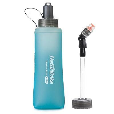 Tentock Sports en silicone pliable bouteilles d'eau en TPU Antibacteria Bouteille avec Paille Bleu pour la course à pied Trekking Fitness Cyclisme 280ml/420ml