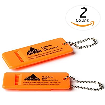 LAUNCH OFFER – Emergency Survival Whistle with Small Chain for Camping, Hiking, Boating, and Kayaking by Outdoor Life Adventure – ABS Plastic Super Loud Whistles Design for Rescue Signaling – 2 Pack