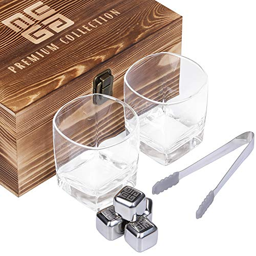 MEGA Whiskey Stones and Glasses Gift Set of 2 Large Crystal Clarity Glasses, 4 Stainless Steel Ice Cubes, 1 BPA Free Silicone Tipped Tongs, Packed in Natural Wood Burned Box, Husband Birthday Gifts