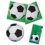 Unique 3D Soccer Party Bundle | Luncheon & Beverage Napkins, Dinner & Dessert Plates, Table Cover | Great for Interactive Sports Birthday Themed Parties