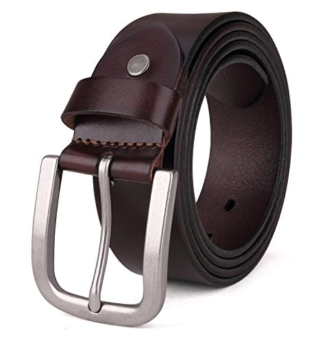 Tonly Monders Men's Belt Vintage Genuine Leather Belt Coffee, 1 1/2 Inch Width, 40 41 42 Waist