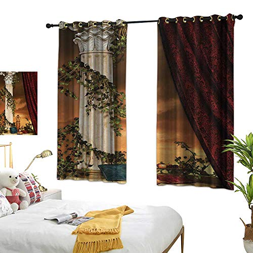 Anshesix Printed Curtain Gothic Greek Style Scene Climber Pillow Fruits Vine and Red Curtain Ancient Goddess Sunset W72 xL45 Multicolor Suitable for Bedroom Living Room Study,etc.