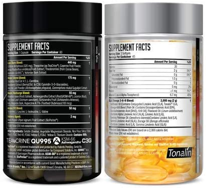 NDS Nutrition Maximum Strength Dual Impact Stack - Complete 2-in-1 Fat Loss Stack Enhanced with Teacrine, L-Carnitine, CLA for Serious Results - Censor 90 Softgels & LipoRush XT 60 Capsules 4