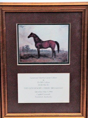 Governor Martha Layne Collins Governor's Kentucky Derby Breakfast Invitation and Horse Print Framed 14.5
