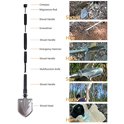 SLFC Military Folding Shovel - Portable Multitool Tactical Entrenching Tool for Camping,Compass Backpacking Outdoor Hiking Garden Snow Heavy Duty Emergency Survival Gear Sports & Outdoors(black) by SLFC (Image #2)