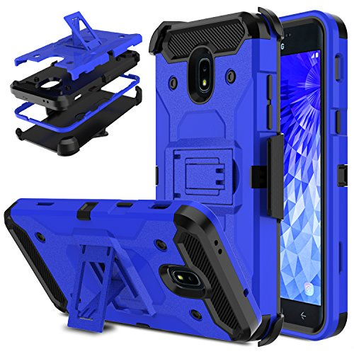 Galaxy J7 2018 Case, J7 Crown S767VL Case, J7 Refine Case, DONWELL [Belt Clip Holster][Kickstand][Dual Layer] Armor Full Protective Case Cover Compatible with Samsung Galaxy J7 Star 2018 (Blue) -
