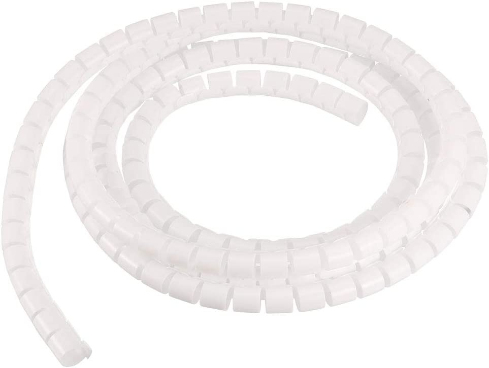 sourcing map Flexible Spirale Tube Enveloppe C/âble Gestion Gaine 7mm x 8mm Fil G/érer Cordon 2 M/ètres Longueur Blanc