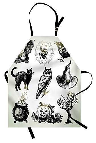 Lunarable Vintage Halloween Apron, Halloween Related Pictures Drawn by Hand Raven Owl Spider Black Cat, Unisex Kitchen Bib Apron with Adjustable Neck for Cooking Baking Gardening, White Black