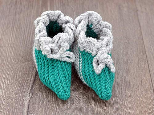 Knit baby booties Funny Holiday Gift Green Grey Hand knitted baby booties Pixie sizes 0-6 Months, Christmas Gift Baby Socks, Newborn Gift for baby