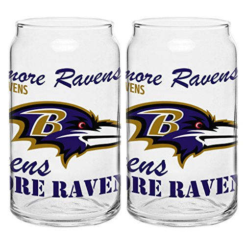 NFL Baltimore Ravens Spirit Glass Can, 16-ounce, (Baltimore Ravens Glass)