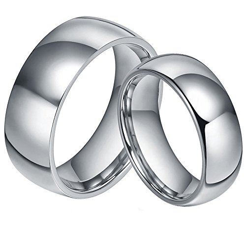 His & Her's 8MM/6MM 316L Stainless Steel Classic Dome Shape Shiny Wedding Band Ring Set -