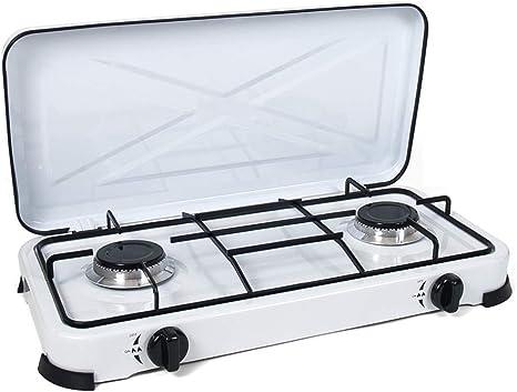 Cocina de Gas portatil 2 Fuegos Camping terraza Jardin para propano y butano