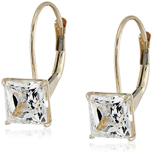 Gold Collection Jewelry (10K Yellow Gold Princess Cut Dangle Earrings Made with Swarovski Zirconia (2 cttw))