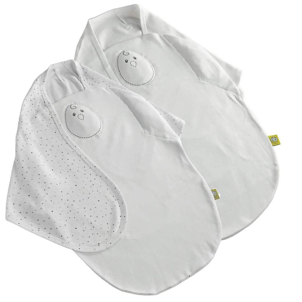 Swaddle 2 Pack -''Classic'' Zen Swaddle - Weighted Baby Swaddle Blanket Mimics Touch. 2 in 1 Size (0-6 Months). 100% Cotton. (Pearl White and Stardust Grey) ... by Nested Bean