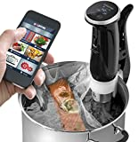 Gourmia GSV150 WiFi Sous Vide Precision Cooker Immersion Pod, 1200W Powerful & Accurate, App Controlled, 3rd Generation - Includes Free Recipe Book, Black