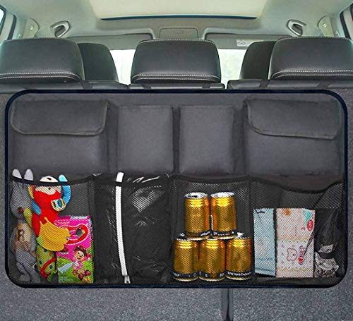 XBRN Trunk Organizer, Auto Car Storage Backseat Bag Space Saving Car Organizer Back Seat Interior Accessories Mesh Pockets for SUV Truck Van (34 x 18 inch)