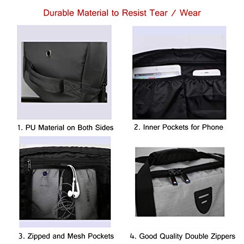 Gym Duffle Bag Backpack Waterproof Sports Duffel Bags Travel Weekender Bag for Men Women Overnight Bag with Shoes Compartment Grey