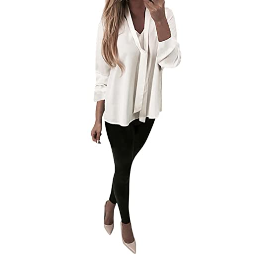 28d111b780c96 Paymenow Womens V-Neck Long Sleeve Tops Draped Plain Ruched Tie Casual  Loose T-