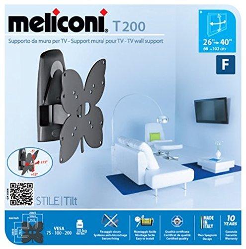 Porta Tv Meliconi A Parete.Meliconi Stile T200 Supporto Da Parete Per Tv A Schermo Piatto Da 26 A 40 Orientabile Orizzontalmente E Verticalmente Vesa 100x100 200x200