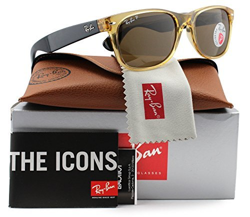 Ray-Ban RB2132 Large New Wayfarer Polarized Sunglasses Honey w/Crystal Brown (945/57) 2132 94557 55mm - Honey Ban Wayfarer Ray Polarized